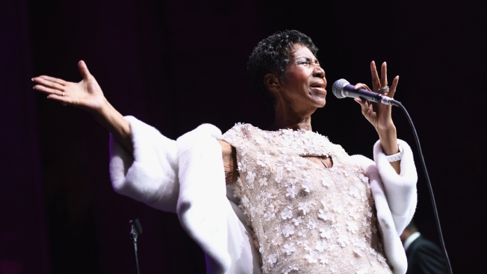 retha Franklin performs onstage at the