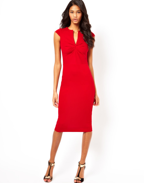 ASOS Pencil Dress with Pleated Bust