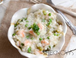 Asparagus, pea and shrimp risotto