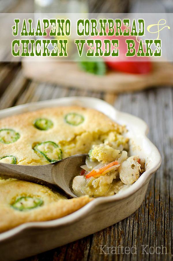 Jalapeño cornbread and chicken verde bake
