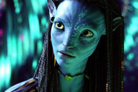 Zoe Saldana in James Cameron's Avatar, also starring Sigourney Weaver