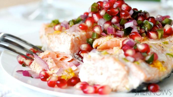 Baked citrus salmon with pomegranate-basil relish