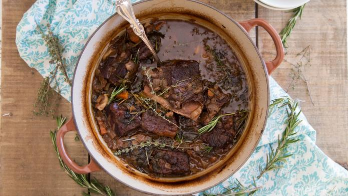 Red wine-braised short ribs are an