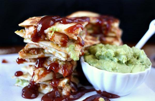 Spicy barbecue chicken and avocado quesadillas