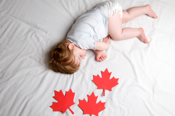 Baby boy and Canadian Flag