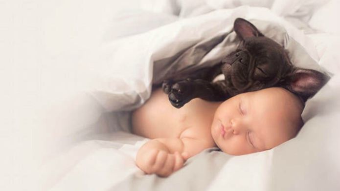 Pictures of baby and puppy bonding