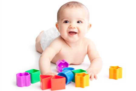 Baby with colorful shapes