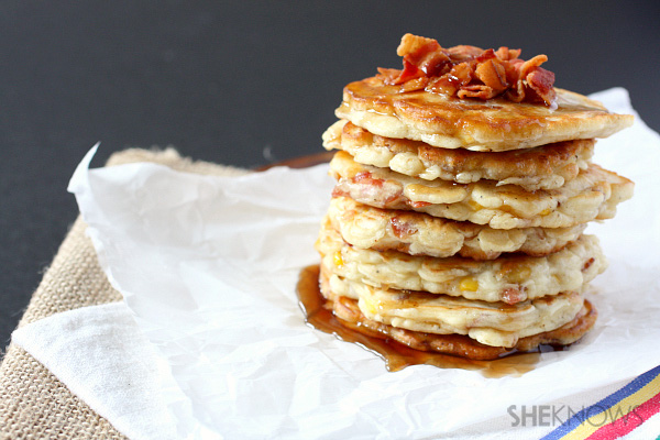 corn and bacon pancakes