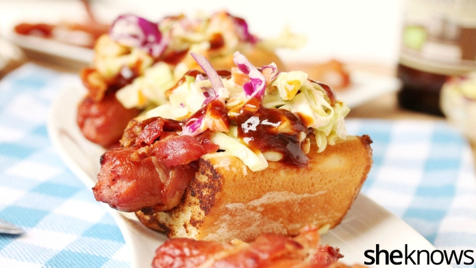 Make bacon-wrapped BBQ dogs topped with