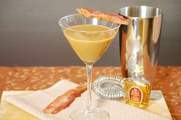 Bacon, coffee and maple whiskey martini