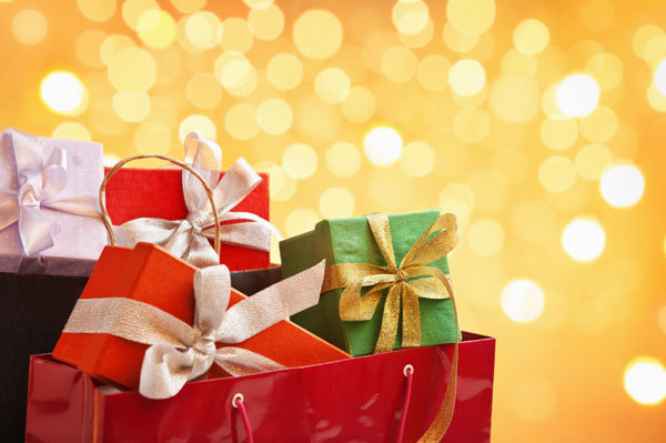 A bag of christmas gifts