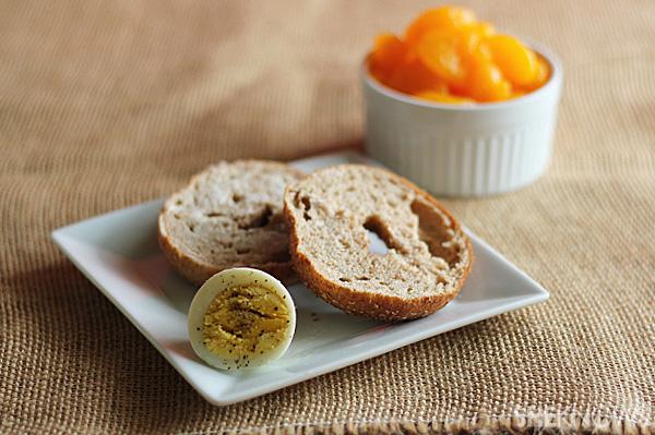 Whole Grain Bagel, Boiled Egg & Fruit