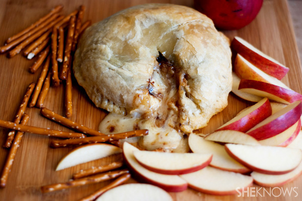 Autumn baked brie wrapped in puff pastry
