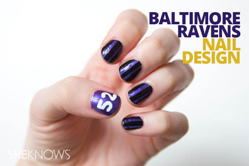 Baltimore Ravens nail design