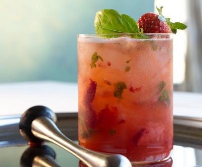 Skinny strawberry basil smash cocktail