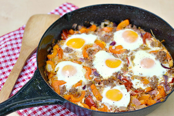 Basque style baked eggs
