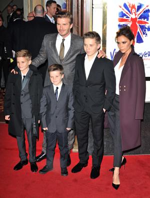 Beckham family at Viva Forever premiere