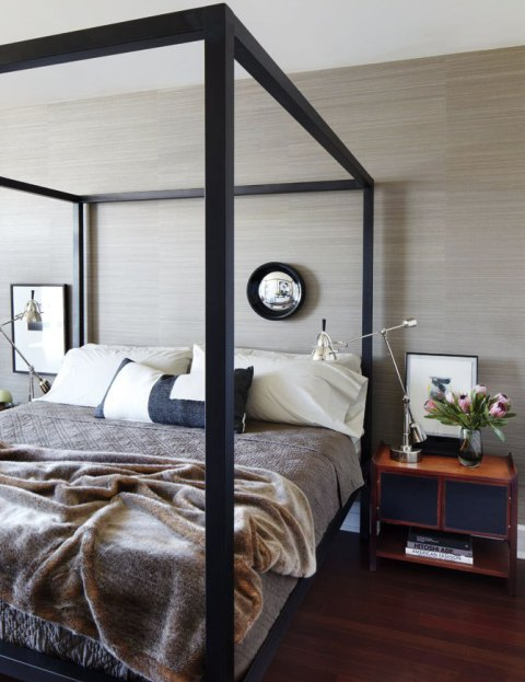 Bedroom with wood pallet wall