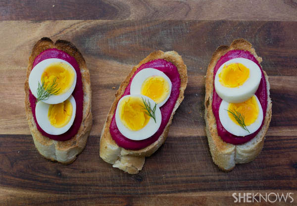 Crostini with beet spread and eggs | SheKnows