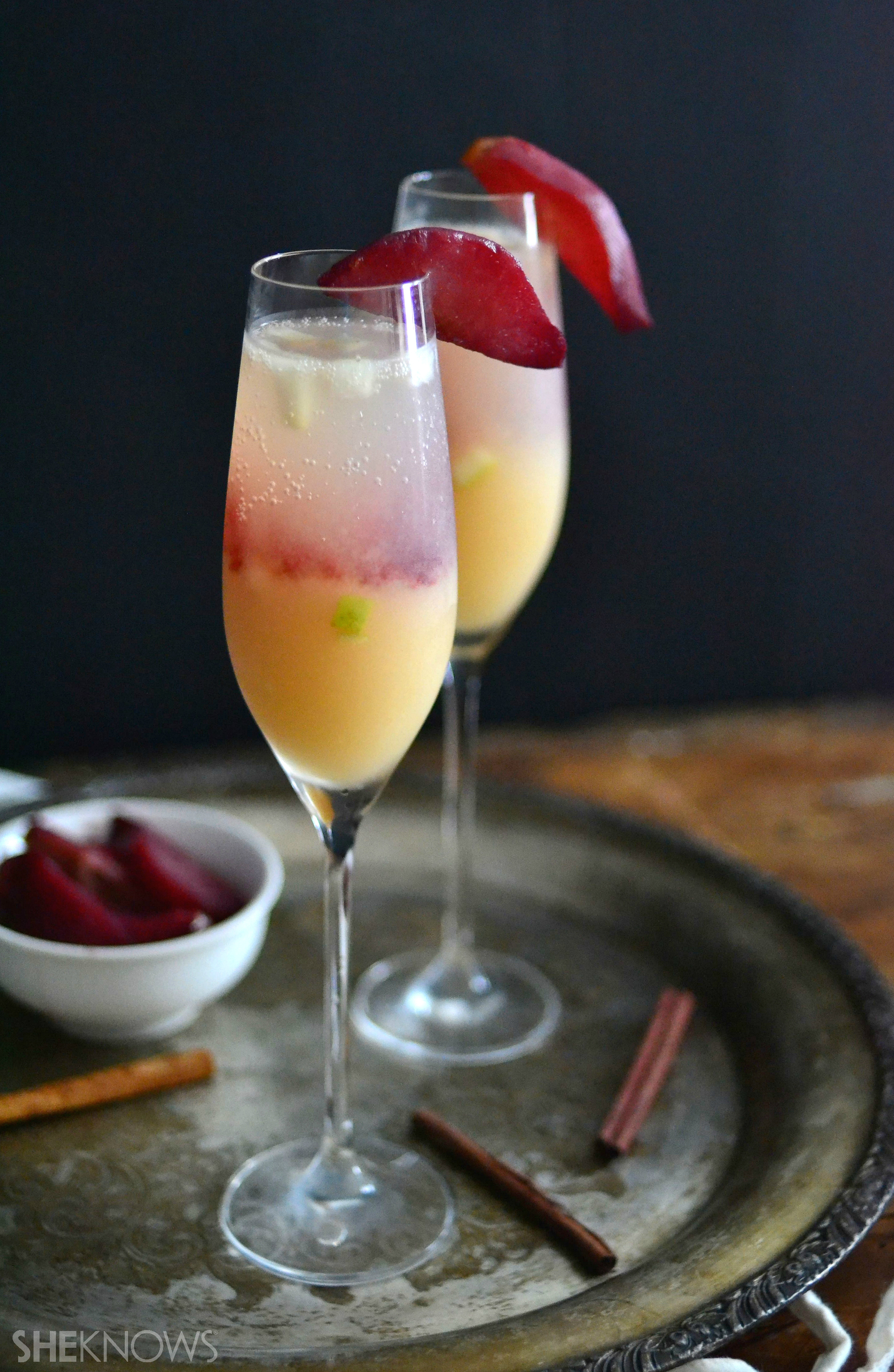 red wine-poached pear Bellini