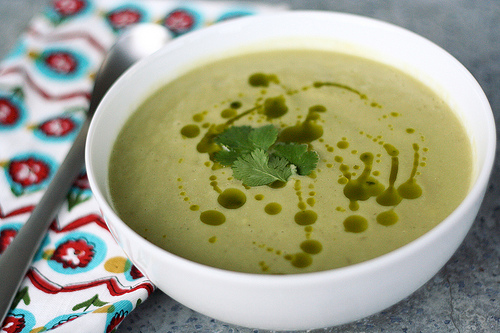 Chilled avocado and corn soup with cilantro oil