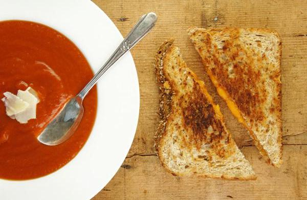 Grilled cheese and tomato soup for