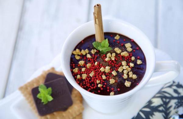 Hot dark chocolate with cinnamon and