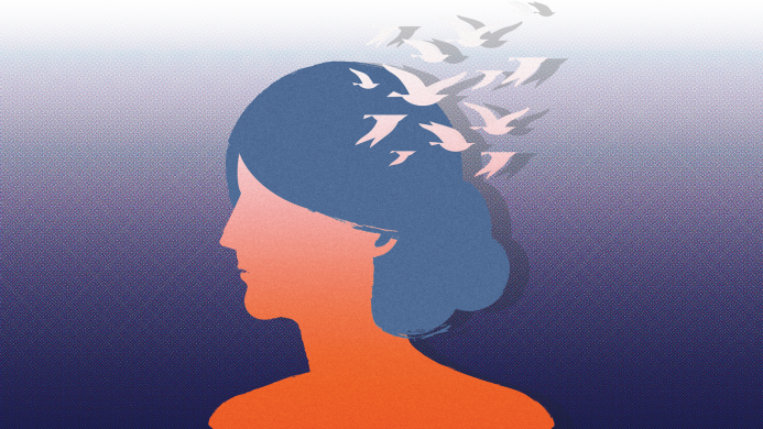 Profile of orange woman with birds