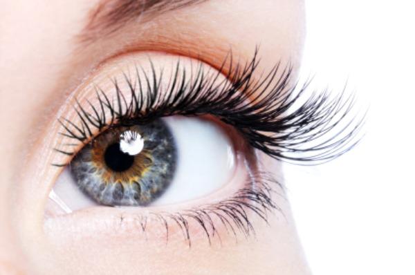 Beautiful blue eye with natural makeup