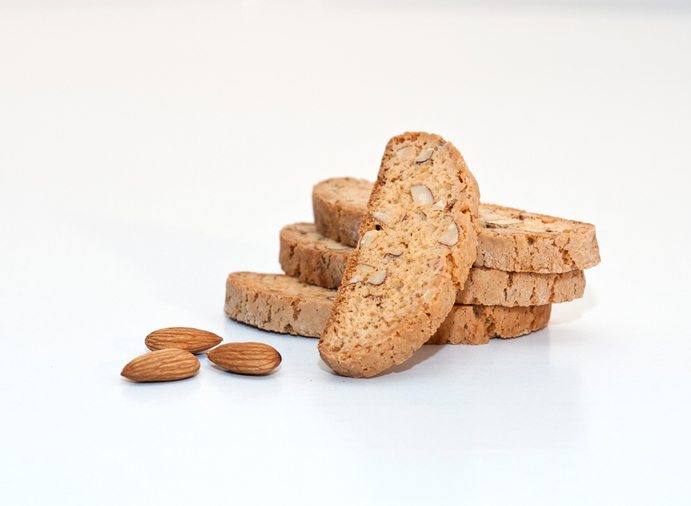 Biscotti With Almonds Over White Background