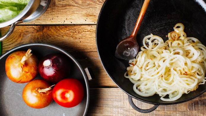 Chopped onion on a pan