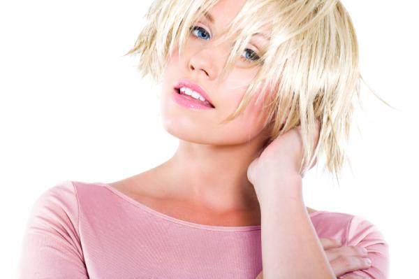 Blonde texturized bob