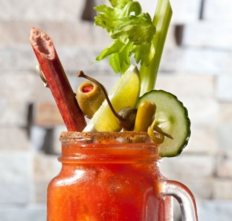 bloody mary with a meat straw