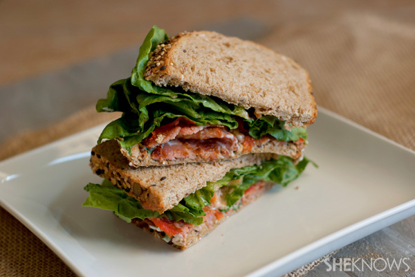 Slow roasted tomato sandwiches with bacon and basil mayo