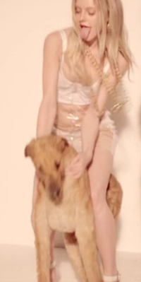 Blurred Lines girl riding stuffed dog