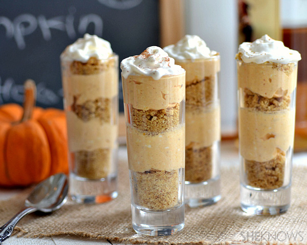 Finished boozy pumpkin cheesecake shooters