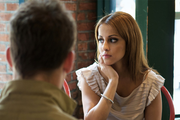 Unhappy woman on date
