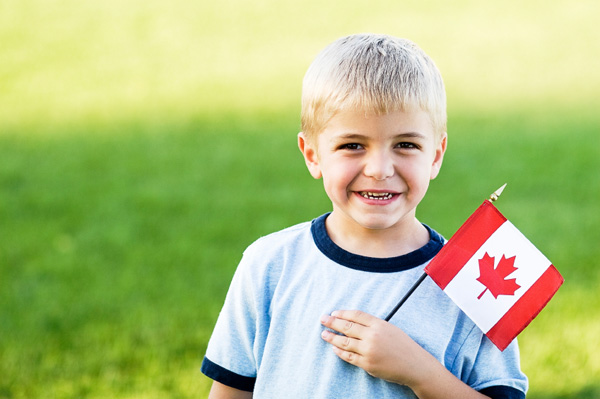 Boy with Canadian flag