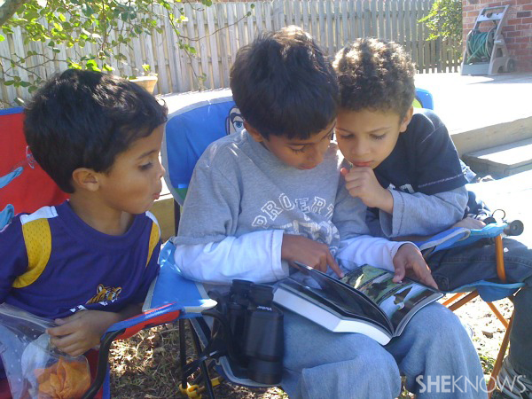 Davis boys bird watching, studying and journaling