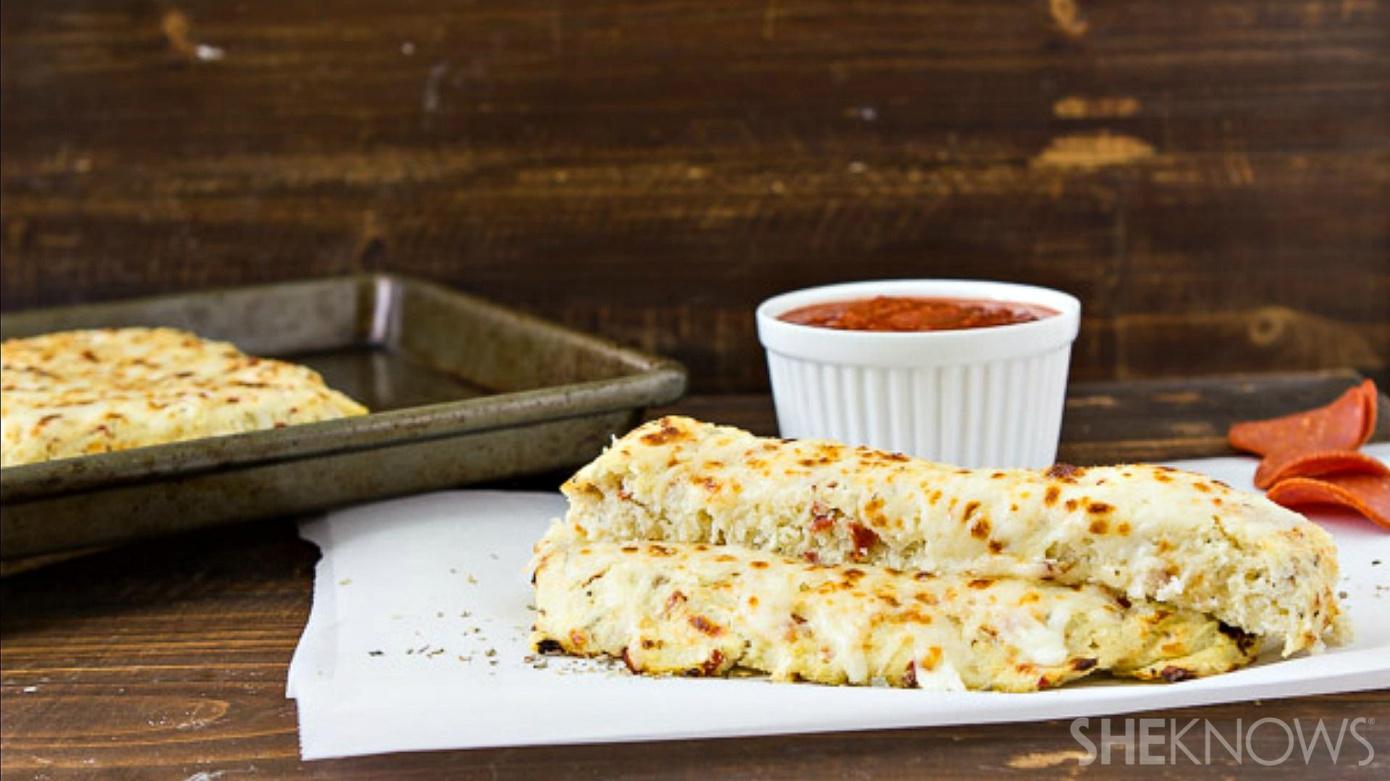 Cheese pizza-flavored cauliflower bread sticks