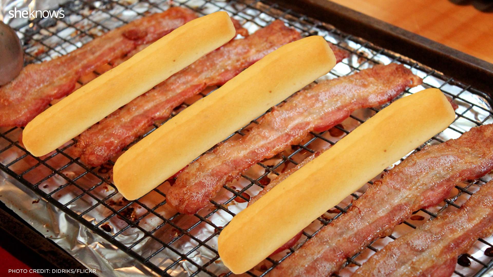 bacon with breadsticks