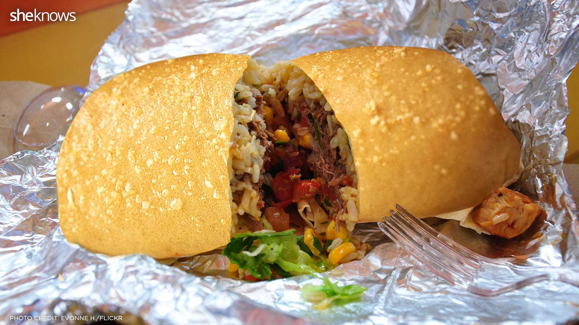 chipotle burrito with breadstick