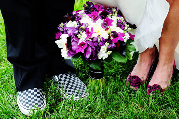 Bride and groom with funky shoes