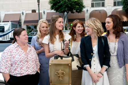 The cast of Bridesmaids: Melissa McCarthy, Wendi McLendon-Covey, Rose Bryne, Ellie Kemper, Kristen Wiig and Maya Rudolph