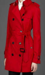 red burberry raincoat