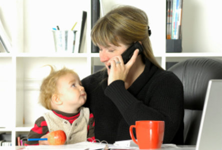 Busy mom on the phone