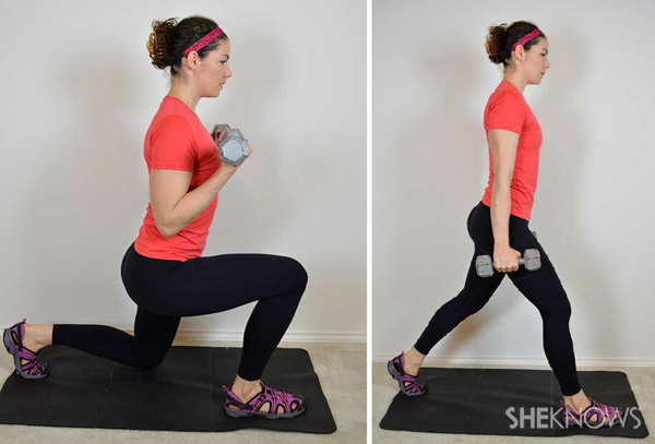 Walking lunge with biceps curl