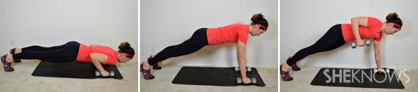 Pushup to dumbbell row