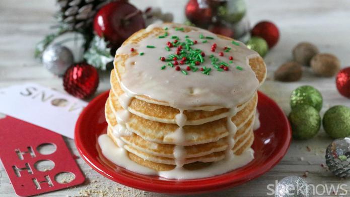 Eggnog pancakes with creamy eggnog-cream cheese