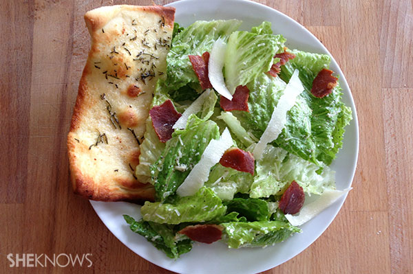 Caesar salad with prosciutto chips and rosemary flatbread | Sheknows.ca